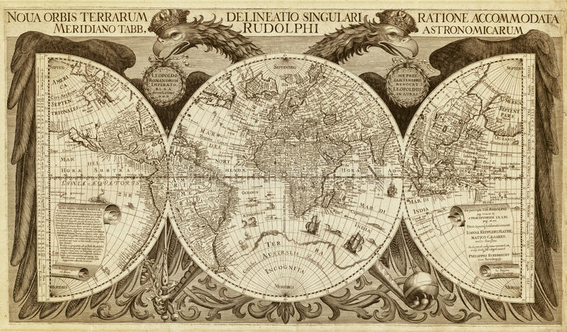 Mapa velho do mundo, impresso em 1630 imagem de stock