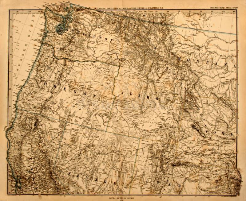 Mapa velho do noroeste pacífico de América. foto de stock