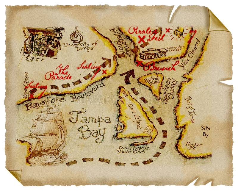 Mapa velho. Tesouro. Pergaminho. ilustração royalty free