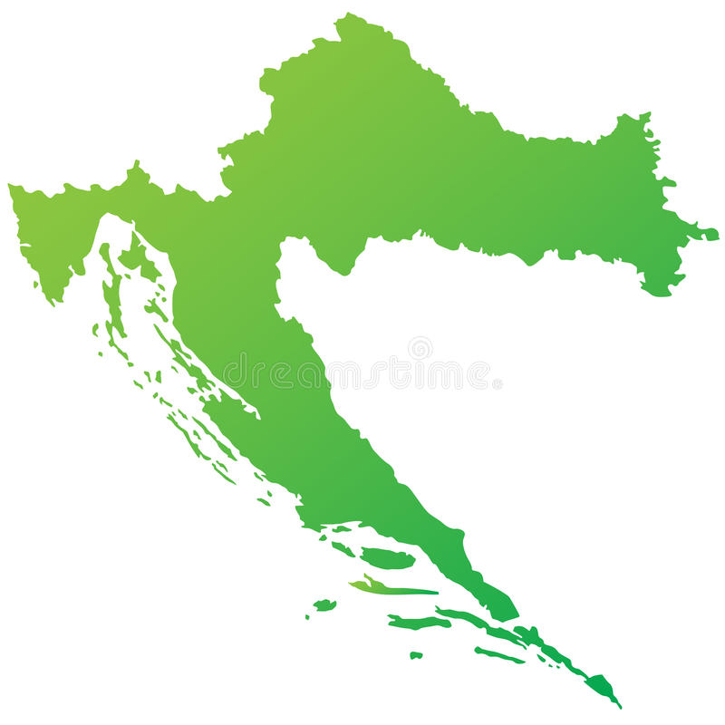Mapa verde altamente detalhado de Croatia ilustração stock