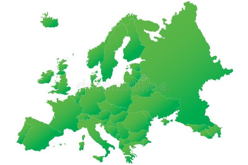 Mapa verde altamente detalhado de Europa ilustração do vetor