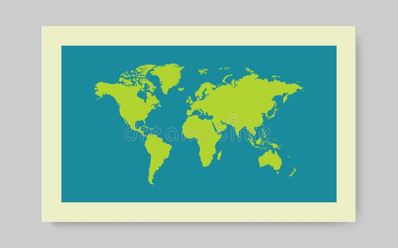 Mapa verde de Worl con la sombra en fondo azul Ilustración del vector ilustración del vector