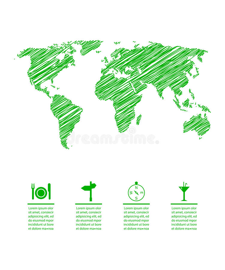 Mapa verde del eco stock de ilustración