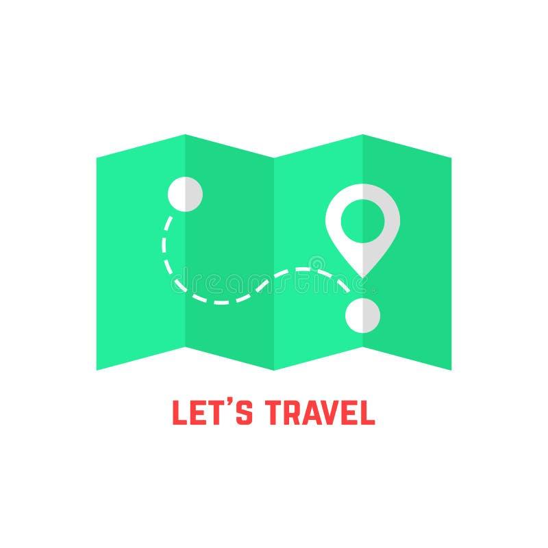 Mapa verde del viaje con el perno ilustración del vector