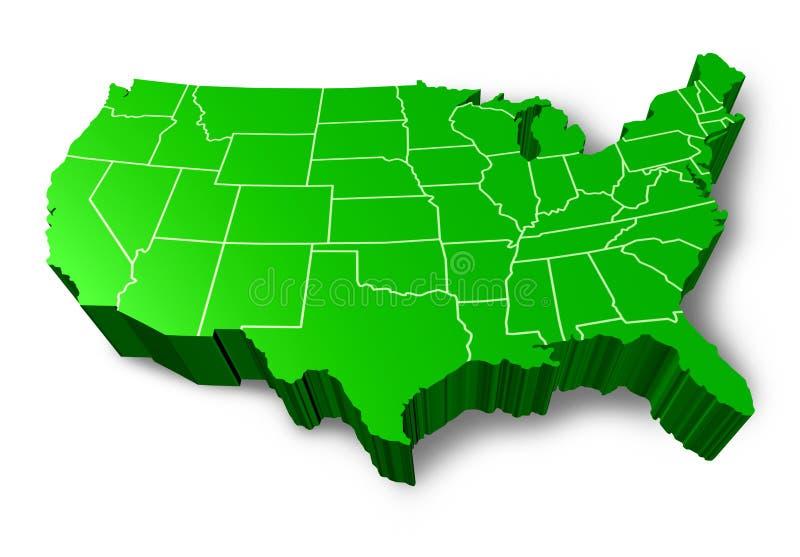 Mapa verde dos EUA 3D ilustração stock