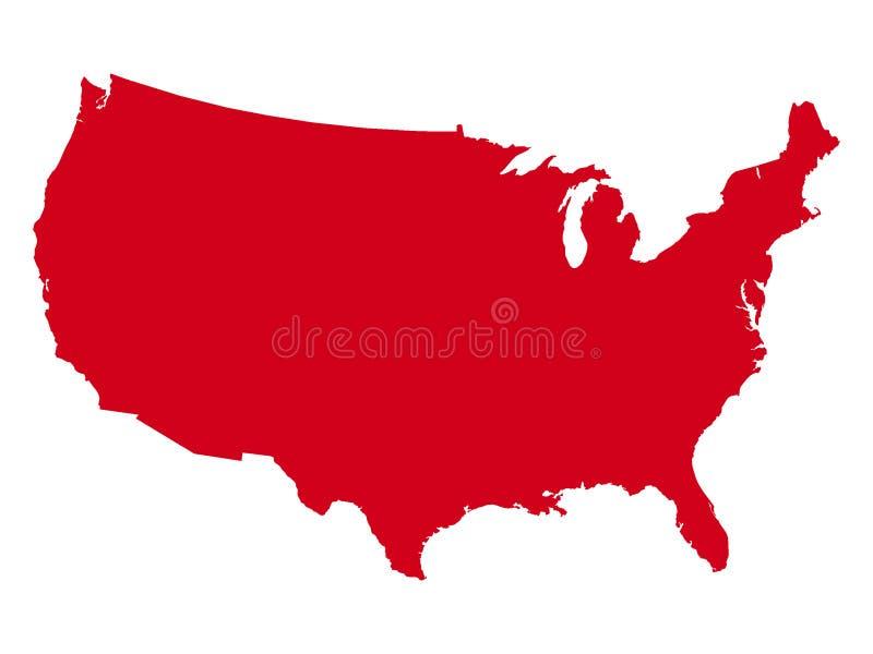 Mapa vermelho dos EUA ilustração do vetor