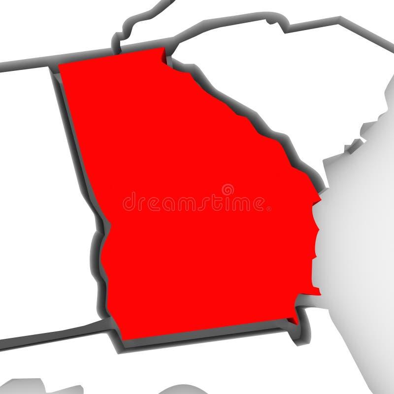 Mapa vermelho Estados Unidos América do estado do sumário 3D de Geórgia ilustração do vetor