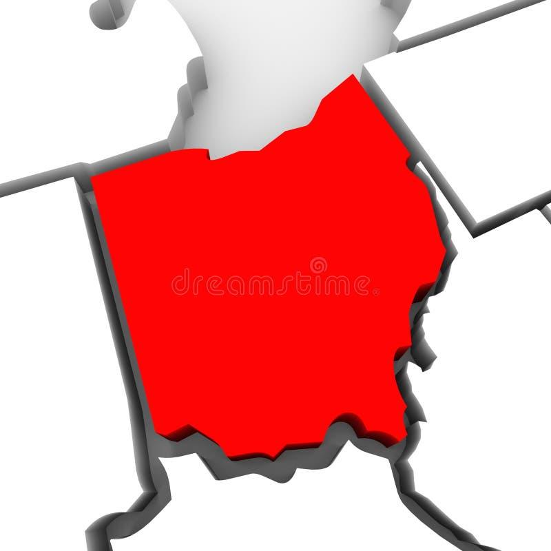 Mapa vermelho Estados Unidos América do estado do sumário 3D de Ohio ilustração stock