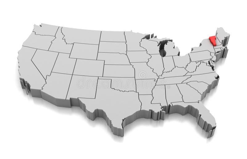Mapa Vermont stan, usa royalty ilustracja