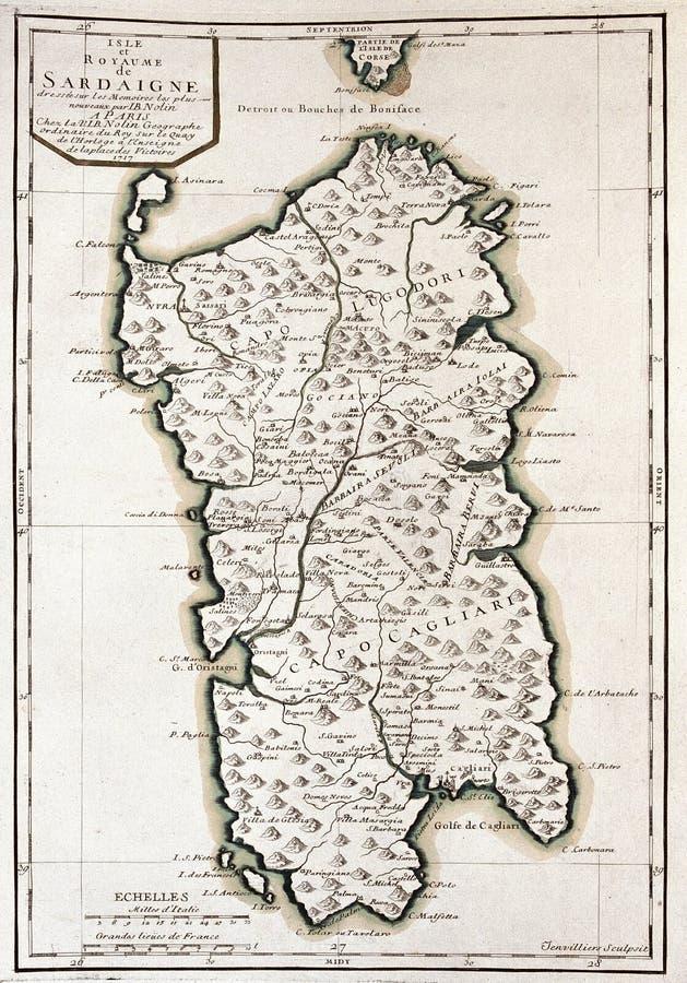 Mapa viejo de Cerdeña, Italia ilustración del vector