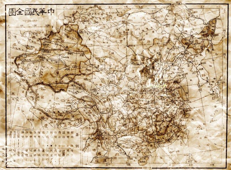 Mapa viejo de China imagen de archivo