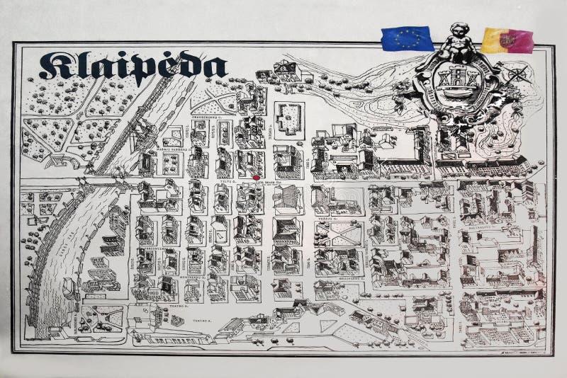 Mapa viejo de la ciudad de Klaipeda, Lituania stock de ilustración