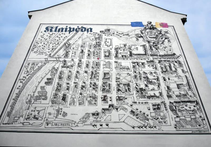 Mapa viejo de la ciudad de Klaipeda, Lituania fotografía de archivo