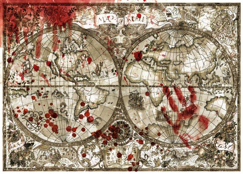 Mapa viejo del atlas del mundo con la impresión sangrienta y descensos de la mano libre illustration