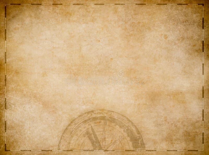 Mapa viejo del tesoro de los piratas con el compás ilustración del vector