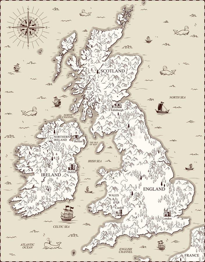 Mapa viejo del vector, Gran Bretaña ilustración del vector