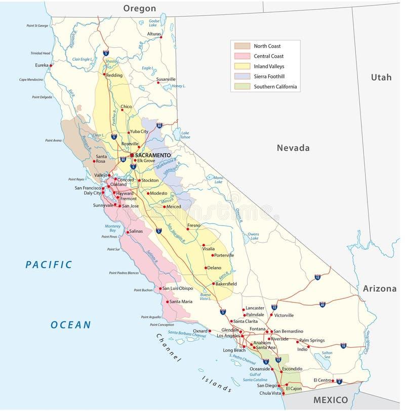 Mapa vinho-crescente das regiões de Califórnia ilustração royalty free