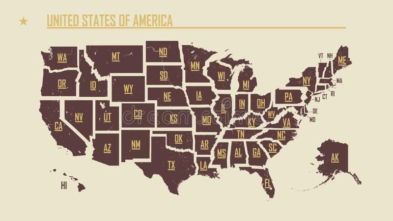 Mapa vintage detallado de los Estados Unidos de América dividido en estados individuales con las abreviaturas 50 estados, vectori ilustración del vector