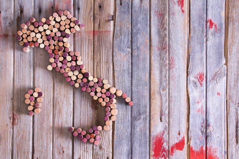 Mapa Włochy, Sardinia i Sicily wino korki, zdjęcie stock