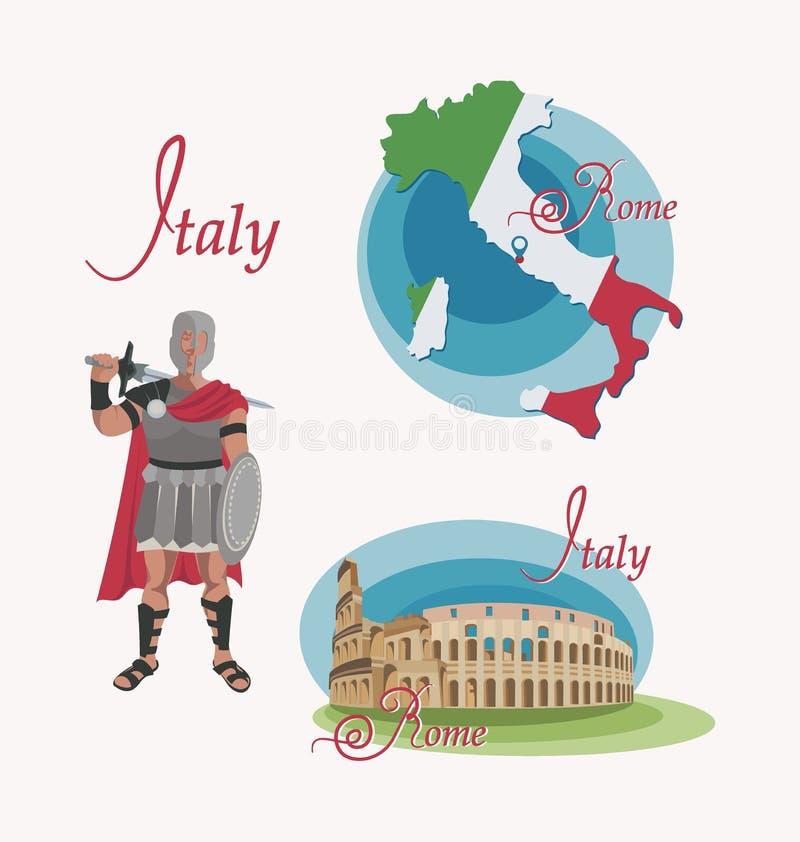 mapa w?ochy rome kolosseum gladiatorski Set royalty ilustracja