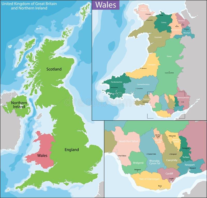 Mapa Walia ilustracji