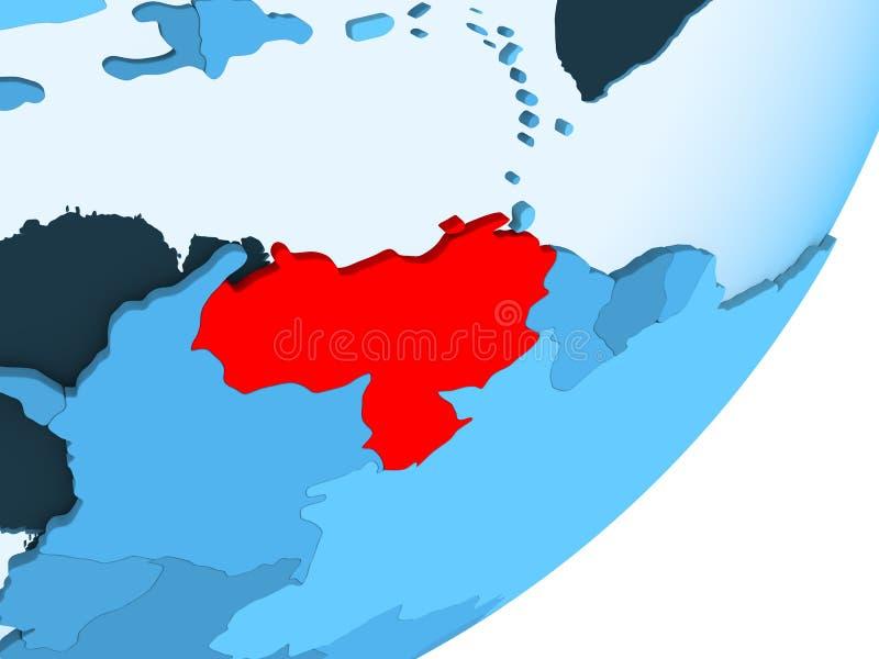 Mapa Wenezuela na błękitnej politycznej kuli ziemskiej ilustracji