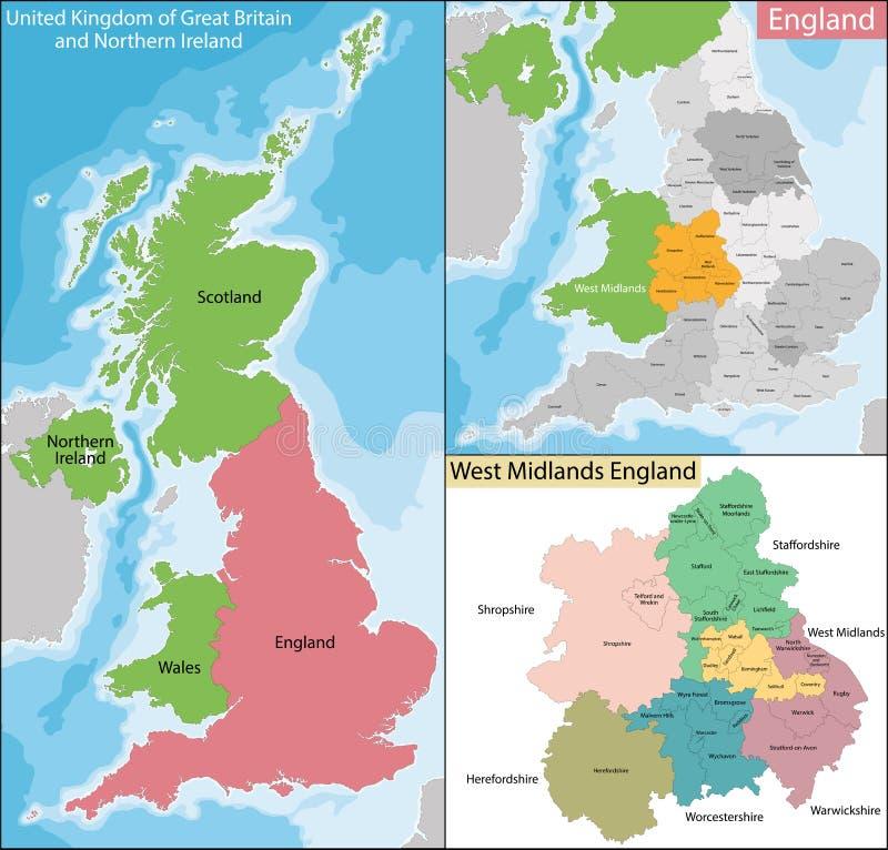 Mapa West Midlands Anglia royalty ilustracja