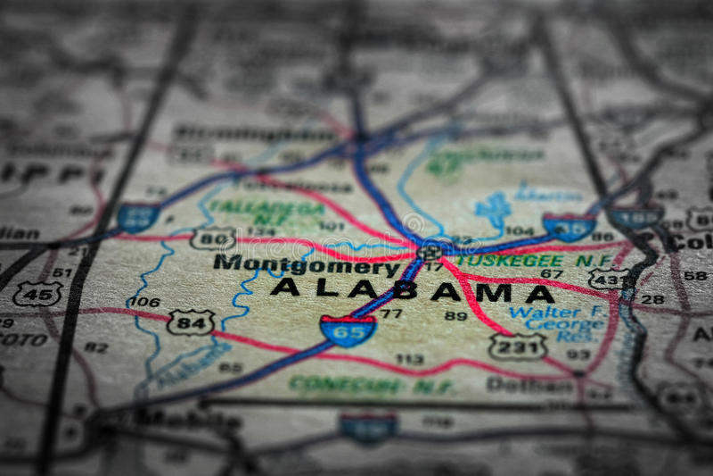 Mapa widok Dla podróży lokacje Alabama i miejsca przeznaczenia obrazy stock