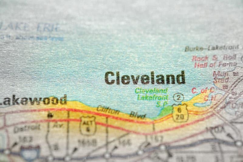 Mapa widok Dla podróży lokacje Clevand i miejsca przeznaczenia fotografia royalty free