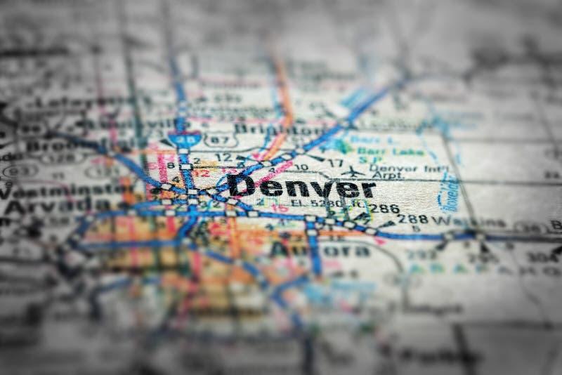 Mapa widok Dla podróży lokacje Denver Colorad i miejsca przeznaczenia zdjęcia stock