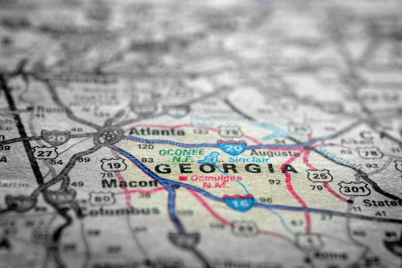 Mapa widok Dla podróży lokacje Gruzja i miejsca przeznaczenia obraz royalty free