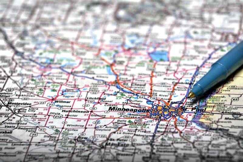 Mapa widok Dla podróży lokacje z piórem obraz royalty free