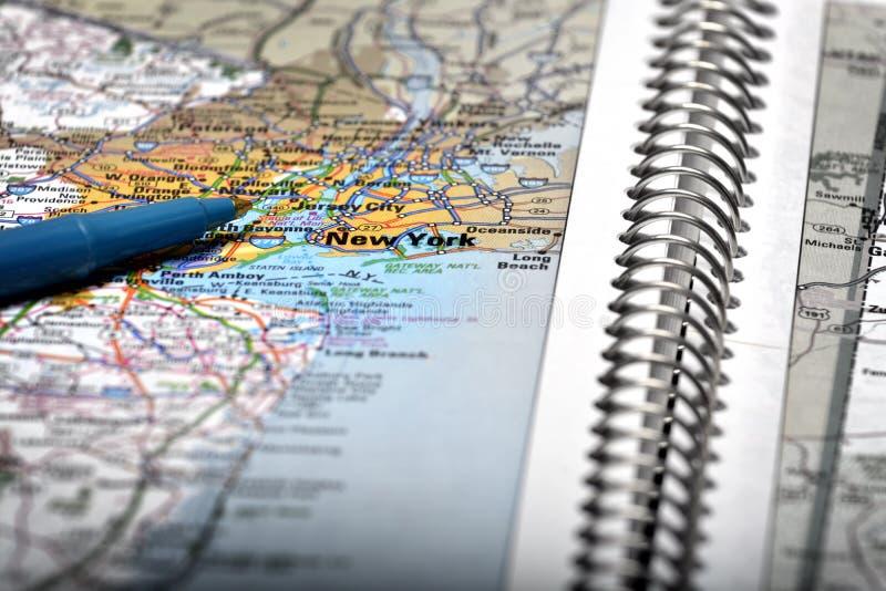 Mapa widok Dla podróży lokacje z piórem obrazy royalty free