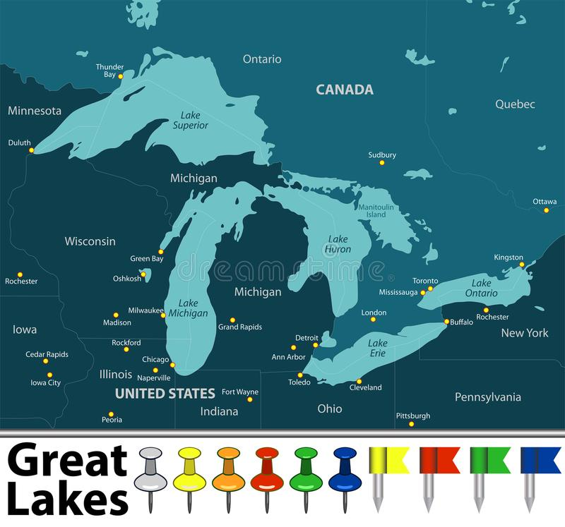 Mapa Wielcy jeziora ilustracja wektor