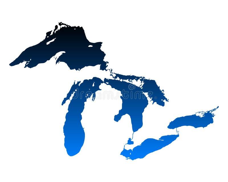 Mapa Wielcy jeziora ilustracji