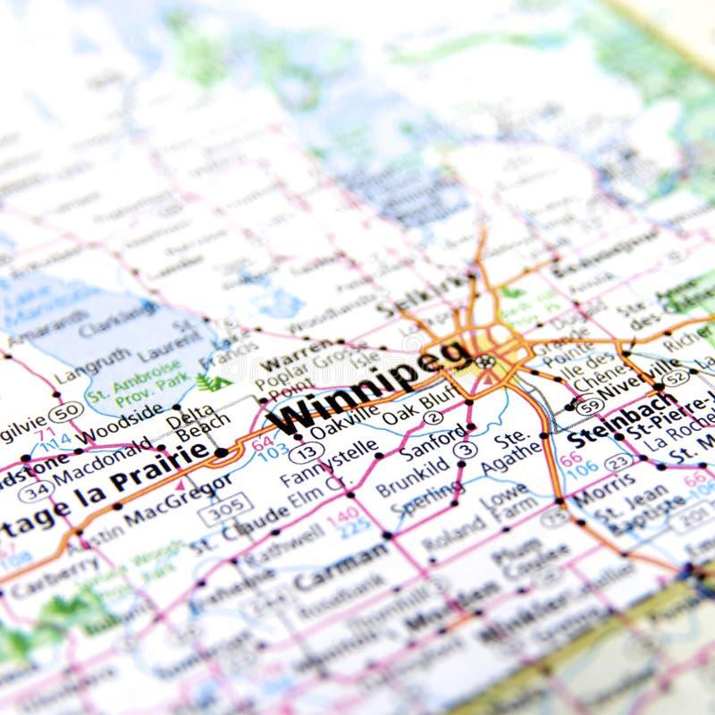 Mapa Winnipeg w Kanada obraz royalty free