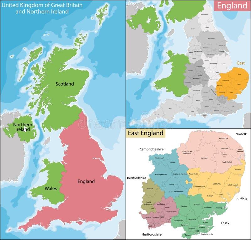 Mapa Wschodni Anglia ilustracji