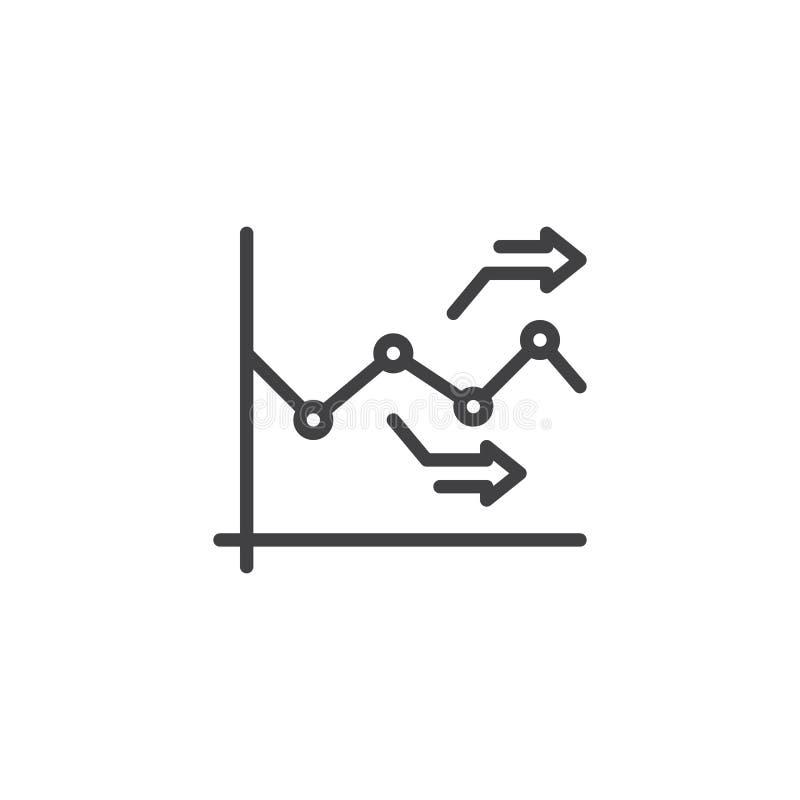 Mapa wykresu strzał kreskowa ikona ilustracji