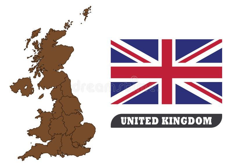Mapa y bandera BRITÁNICOS Mapa de Reino Unido y bandera de Reino Unido stock de ilustración