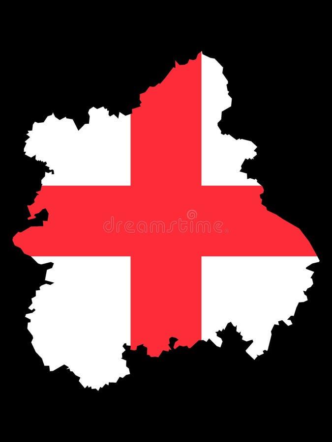 Mapa y bandera combinados de la región inglesa de West Midlands ilustración del vector