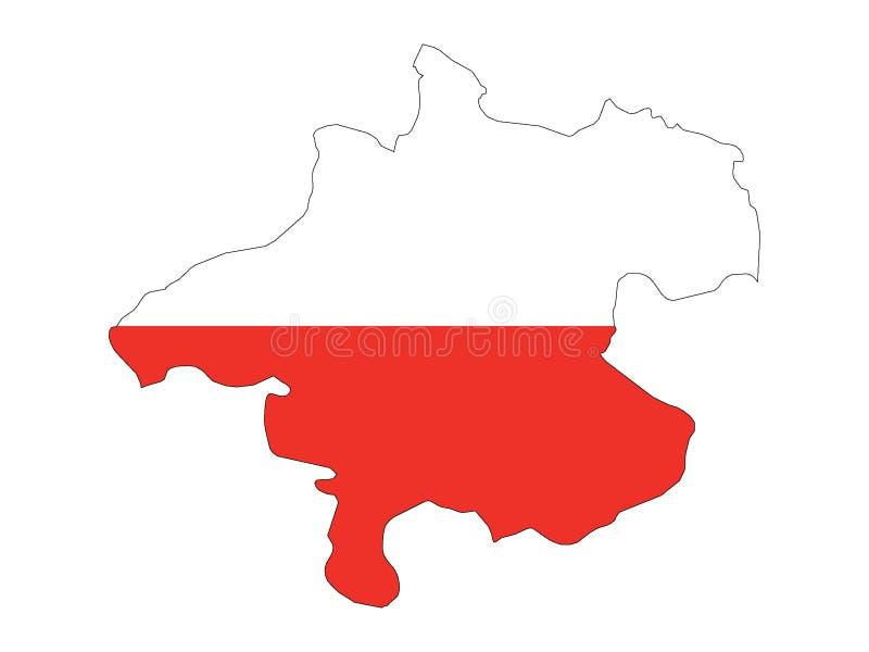 Mapa y bandera combinados del estado austríaco de Austria septentrional stock de ilustración
