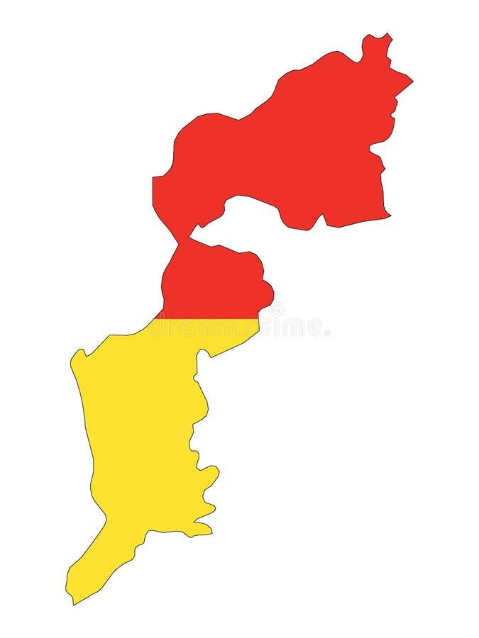 Mapa y bandera combinados del estado austríaco de Burgenland stock de ilustración