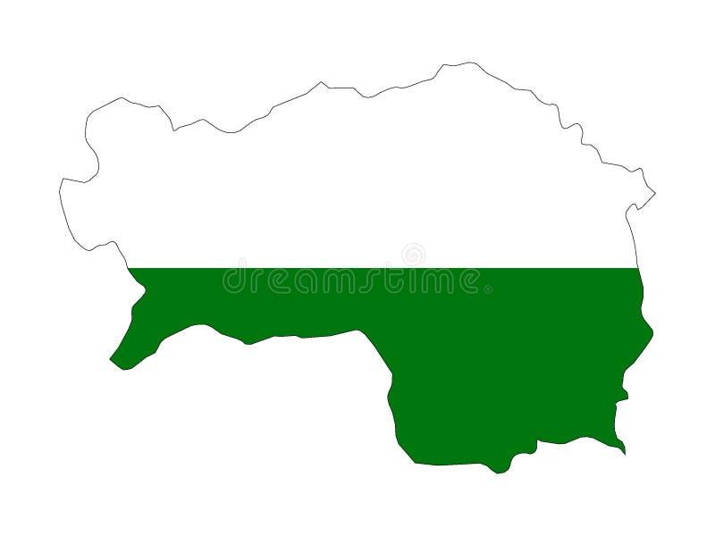 Mapa y bandera combinados del estado austríaco de Estiria libre illustration
