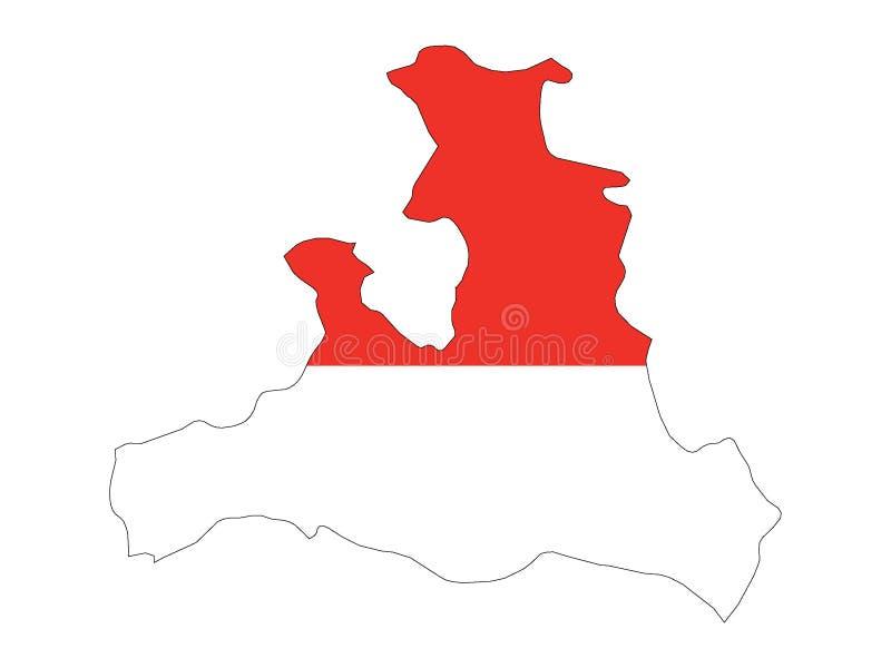 Mapa y bandera combinados del estado austríaco de Salzburg stock de ilustración