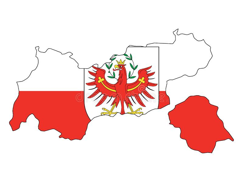 Mapa y bandera combinados del estado austríaco del Tyrol libre illustration