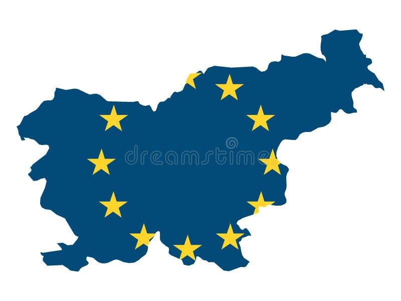 Mapa y bandera combinados del país de la UE de Eslovenia ilustración del vector
