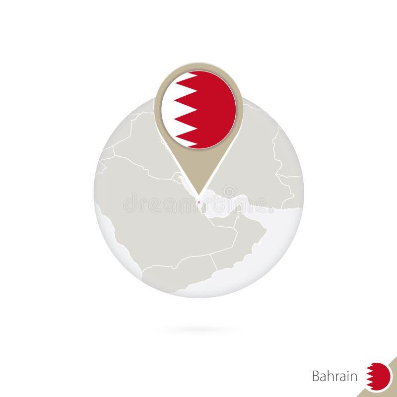 Mapa y bandera de Bahrein en círculo Mapa perno de la bandera de Bahrein, Bahrein Mapa de Bahrein en el estilo del globo stock de ilustración