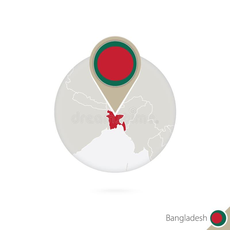 Mapa y bandera de Bangladesh en círculo Mapa perno de la bandera de Bangladesh, Bangladesh Mapa de Bangladesh en el estilo del gl libre illustration