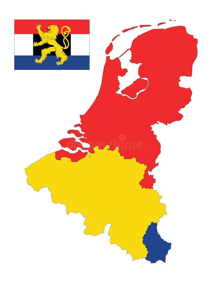 Mapa y bandera de Benelux stock de ilustración