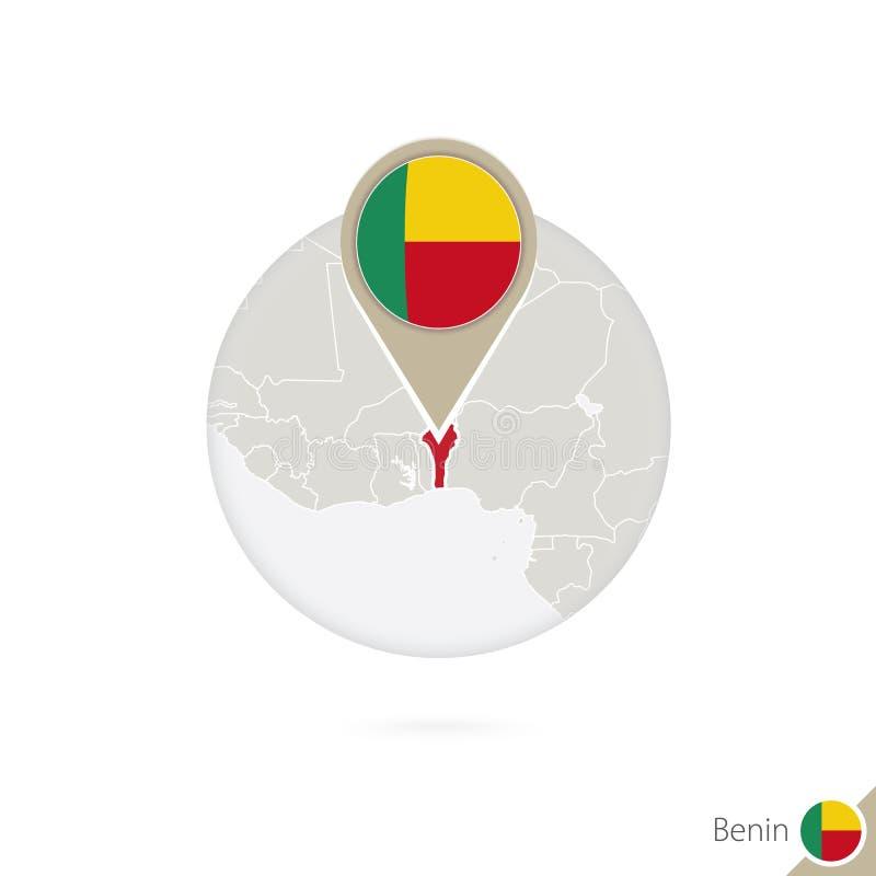 Mapa y bandera de Benin en círculo Mapa perno de la bandera de Benin, Benin correspondencia libre illustration